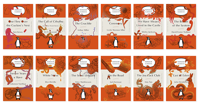 Penguin Orange (Twelve Years a Slave, The Broom of the System, East of Eden, White Noise, The Joy Luck Club, The Snow Leopard, One Flew Over the Cuckoo's Nest, The Crucible, On the Road, Ceremony, We Have Always Lived in the Castle, The Call of Cthulhu)