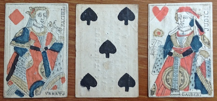 Following suit design observer cards from france late eighteenth centuryreused as business cards for a tailor a roofer and a merchant of general goods colourmoves Image collections