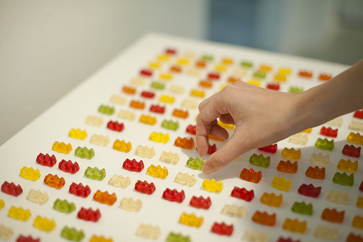 Halal Gummy Bears (in green) were laid out among non-Halal ones at the Eating Together exhibition to challenge visitors to consider the care they needed to take in eating among others with dietary restrictions. A visitor pointed out how vegetarians were excluded from this installation because gummy bears contain beef gelatin. PHOTO: Clarence Aw