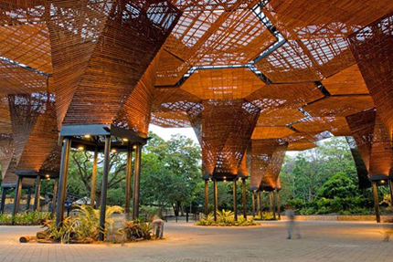 Jardin Botánico-Orquideorama with its canopy of wood-framed hexagons & Medellín Colombia: Design Observer