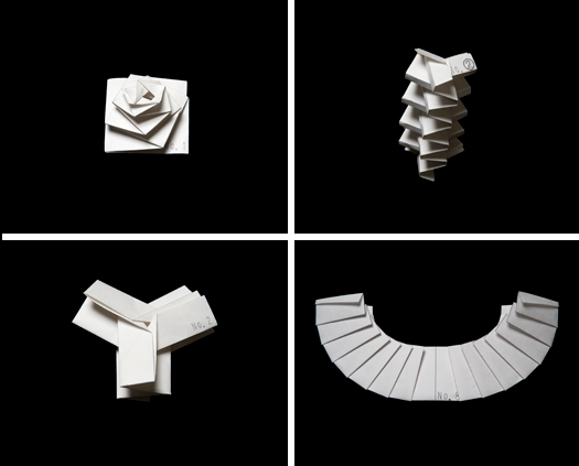 Renderings of folded fabric configurations. Images courtesy Issey Miyake.