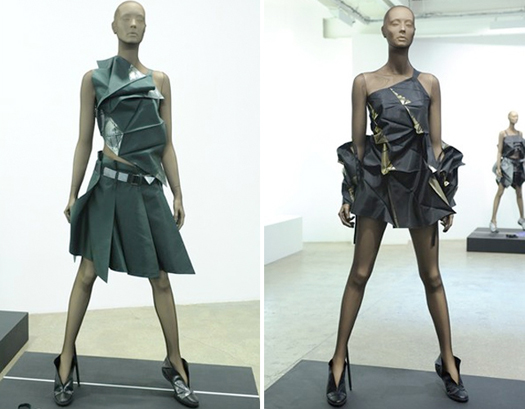 Dresses from Issey Miyake's 132 5 collection, on view in Paris