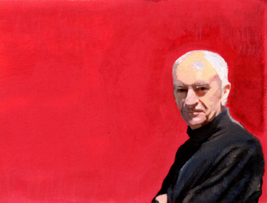 Painting of Massimo Vignelli by Jessica Helfand after a photograph by Beatriz Cifuentes